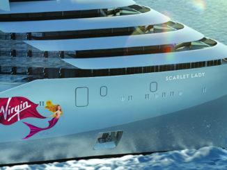 Design der Scarlet Lady am Bug. Grafik: Virgin Voyages