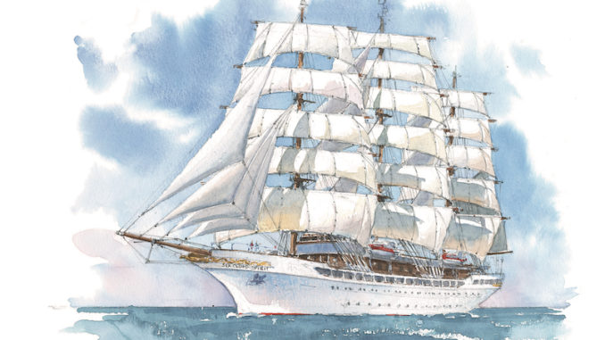 So soll die Sea Cloud Spirit aussehen. Grafik: Sea Cloud Cruises