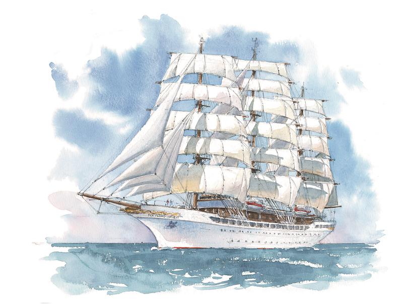 So soll die Sea Cloud Spirit aussehen. Grafik: Sea Cloud Cruises