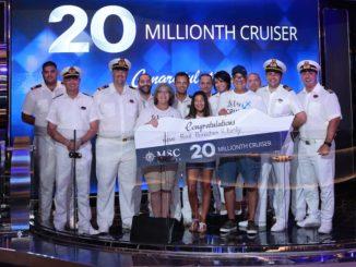 MSC Cruises begrüßte den 20 Millionsten Passagier. Foto: MSC Cruises