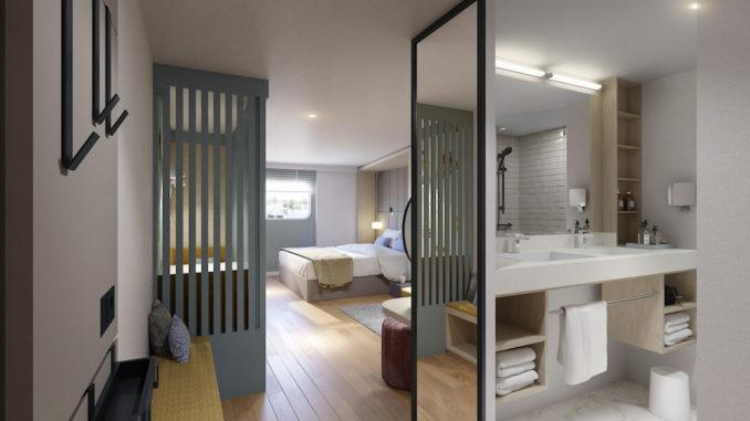 Zwei Waschbecken und ein separates WC – bei AROSA ist auch der Start in den Tag für Familien durchdacht. Grafik: A-ROSA Flussschiff GmbH