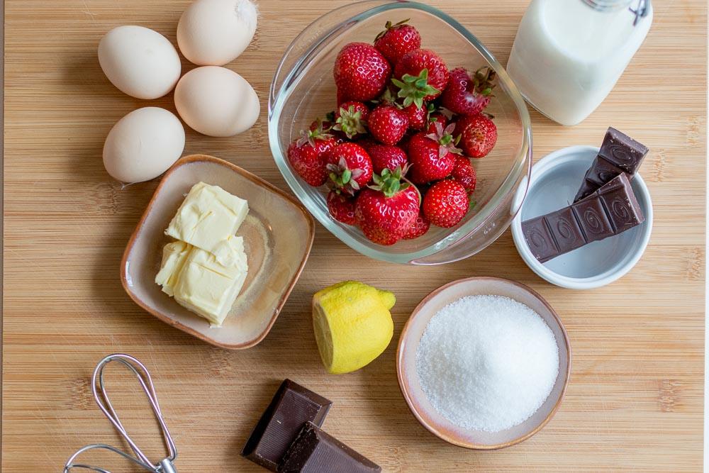 Unsere Zutatenübersicht für den Chocolate Lava Cake