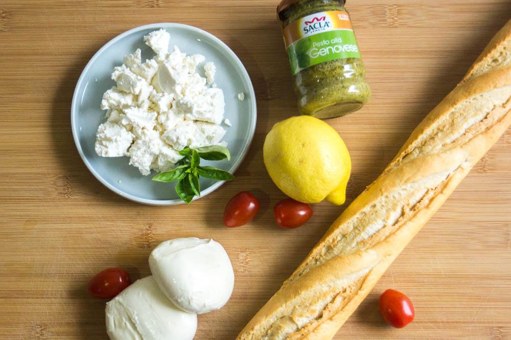 Zutatenübersicht für Creamy Mozzarella & Pesto